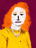 Girl In Yellow Sweater - Digital Art. Abstract illustration of a young woman with orange hair Royalty Free Stock Photo