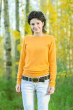 Girl in yellow sweater Royalty Free Stock Photography