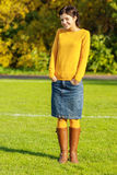 Girl in yellow sweater Royalty Free Stock Images