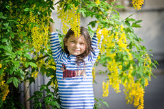 Girl and yellow tree Royalty Free Stock Photos