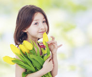 Girl with yellow tulips Stock Images