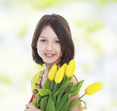 Girl with yellow tulips Royalty Free Stock Images