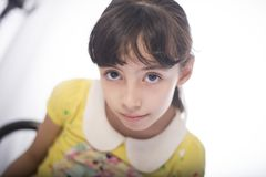 Girl in Yellow and White Collared Short-sleeved Top royalty free stock photos