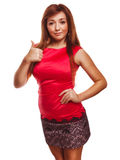 Girl yes brunette woman shows positive sign thumbs Stock Images