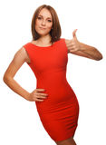 Girl yes brunette woman shows positive sign thumbs Royalty Free Stock Photography