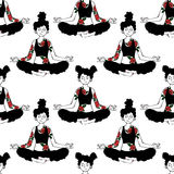 Girl. Yoga. Lotus Pose. Seamless vector pattern background. Royalty Free Stock Photography
