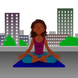 Girl in yoga lotus position. Stock Photos