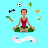 Girl in yoga lotus position. Stock Image