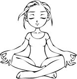 Girl in yoga pose. Girl in yoga meditation position, stylized black and white vector illustration Stock Photography