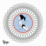 Girl in yoga pose in abstract circle 3 Stock Images