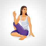 Girl in yoga pose, Ardha Matsiendrasana, yoga Royalty Free Stock Photos