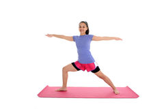 Girl in Yoga Pose. Girl Doing Yoga Pose in a Studio Royalty Free Stock Photos