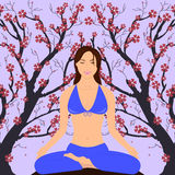 Girl in Yoga Pose. Lotus. Vector illustration of abstract floral background Royalty Free Stock Images