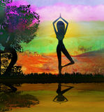 Girl in Yoga pose on Summer background Royalty Free Stock Photos