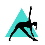 Girl in yoga pose on the triangle background. EPS,JPG. Girl in yoga pose on the triangle background. Vector yoga illustration. Woman makes exercises on an Stock Photography