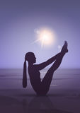 Girl Yoga Position Sport Fitness Woman Exercise Workout Silhouette In Moon Light Stock Images