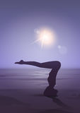 Girl Yoga Position Sport Fitness Woman Exercise Workout Silhouette In Moon Light Royalty Free Stock Photo