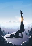 Girl Yoga Position Sport Fitness Woman Exercise Workout Silhouette Mountain Landscape Background Stock Images
