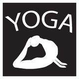 Girl in yoga position. White female silhouette on black background Royalty Free Stock Photography