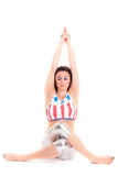 Girl yoga on white background sport exercise meditation Stock Photos