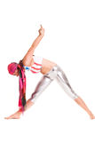 Girl yoga on white background sport exercise meditation Stock Photography