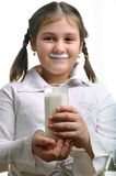 Girl and yoghurt Royalty Free Stock Photo