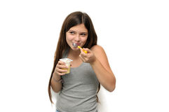 Girl with yogurt royalty free stock photos