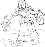 Girl with yoke. And buckets taking water from ice hole Stock Photography