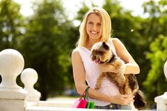 Girl with yorkie Royalty Free Stock Photo