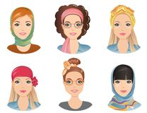 Female hairstyles with different fashion scarves. For the girl, young adult, woman, set 8, / flat design, vector illustration Royalty Free Stock Image