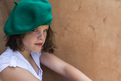 Girl Young Beret Portrait Stock Image