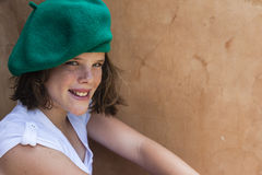 Girl Young Beret Smile Stock Images