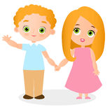 Girl and young boy with glasses. Vector illustration eps 10 isolated on white background. Flat cartoon style. Stock Photos
