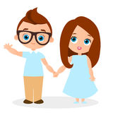 Girl and young boy with glasses. Vector illustration eps 10 isolated on white background. Flat cartoon style. Royalty Free Stock Photography