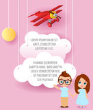 Girl and young boy with glasses. Vector Paper art of cloud and plane flying in the sky. Template advertising brochure with space f Stock Image