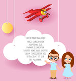 Girl and young boy with glasses. Vector Paper art of cloud and plane flying in the sky. Template advertising brochure with space f Royalty Free Stock Photos