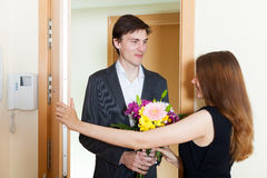 Girl and young man greeting Royalty Free Stock Photo