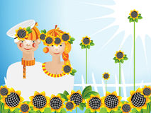Girl_young man sunflowers Royalty Free Stock Images