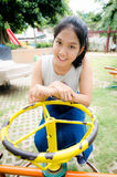 Girl young teen. Thailand girl young teen sitting and looking up Stock Photo