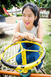Girl young teen. Thailand girl young teen sitting in the park Stock Photo