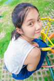 Girl young teen. Thailand girl young teen sitting in the park Royalty Free Stock Photos