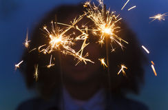 Girl Young Woman Playing with Sparklers Stock Images