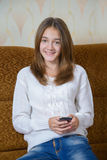 Girl  with your mobile phone Royalty Free Stock Images