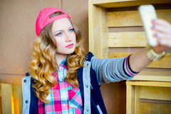 Girl in youth clothes Stock Images