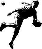 Girl Youth League Fielder. Silhouette of a girl fielding in youth league Royalty Free Stock Photography