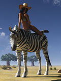 Girl and zebra Stock Photo