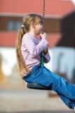 Girl on zip line Stock Photo