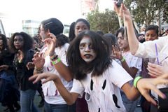 Girl zombie. LOS ANGELES - OCTOBER 24: Girls dressed as a zombie for the 2009 Thrill the World dance. The event marks a world record of most simultaenous dancers Stock Photos