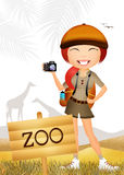 Girl in the zoo. Illustration of girl in the zoo Royalty Free Stock Photo