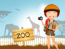 Girl in the zoo Royalty Free Stock Image